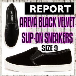 Report Areva Black Velvet Slip-On Sneakers